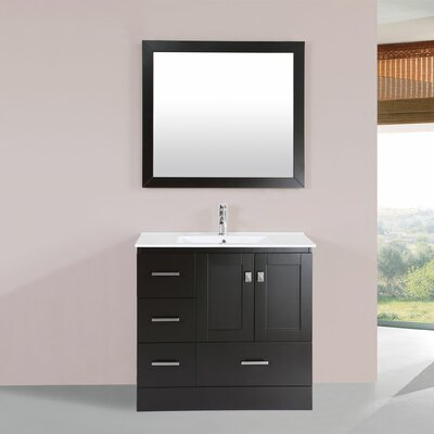 Luci 36 Single Modern Bathroom Left Side Cabinet Vanity Set Base Finish: Espresso