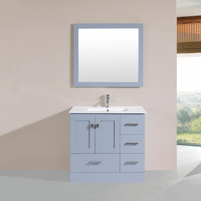 Landrum 36 Single Modern Bathroom Right Side Cabinet Vanity Set Base Finish: Gray