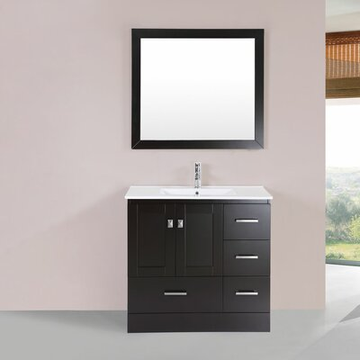 Luci 36 Single Modern Bathroom Right Side Cabinet Vanity Set Base Finish: Espresso