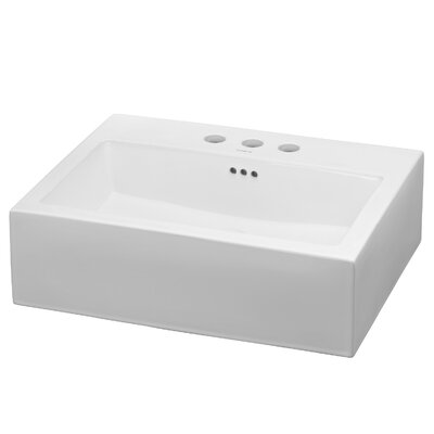 Groove Ceramic Rectangular Vessel Bathroom Sink with Overflow Faucet Mount: 8 Centers