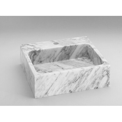 Natural Carrara Marble Rectangular Vessel Bathroom Sink