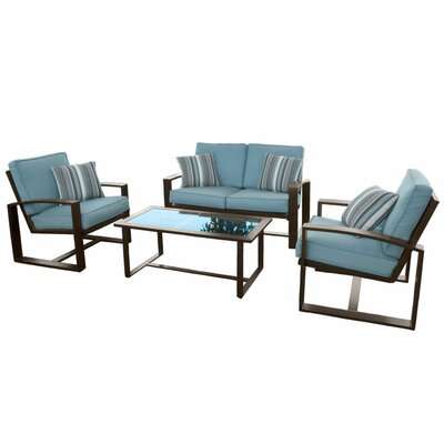 Escoto 4 Piece Seating Group with Cushions Color: Blue