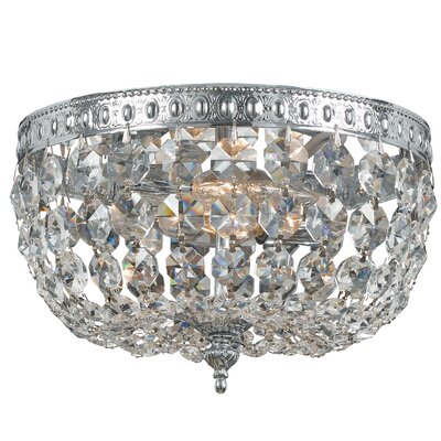 Aureolin 2-Light Flush Mount Size: 5.5 H x 8 W, Finish: Polished Chrome, Crystal Type: Clear Hand Cut