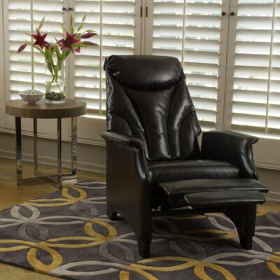 Johnson Leather Recliner Finish: Espresso