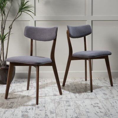 Jeffrey Side Chair Upholstery: Dark Gray, Finish: Natural Oak