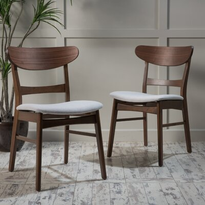 Rodney Side Chair Upholstery: Light Beige, Finish: Natural Walnut