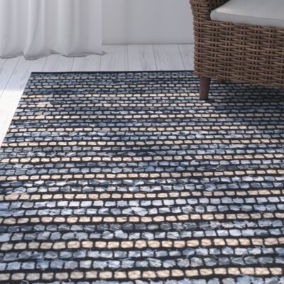 Hand-woven Blue/Natural Area Rug Size: 5 x 8