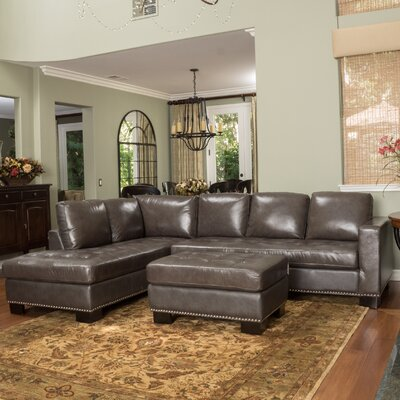 Gains Leather Sectional Upholstery: Gray