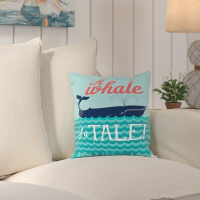 Waldport Nautical WhaleTale Outdoor Throw Pillow Size: 18 H x 18 W x 2 D