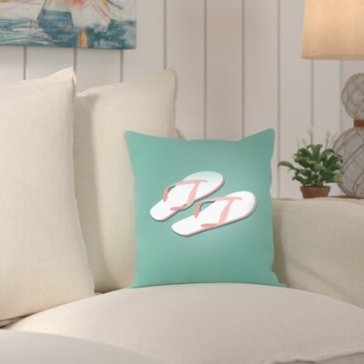 Worthland PalmSprints Flipflops Outdoor Throw Pillow Size: 16 H x 16 W x 2 D
