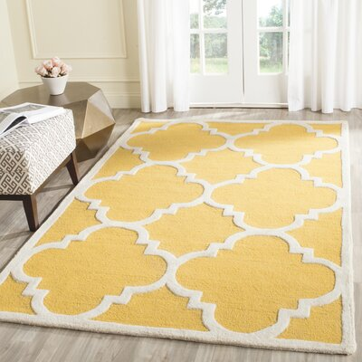 Martins Hand-Tufted Gold/Ivory Area Rug Rug Size: Rectangle 8 x 8