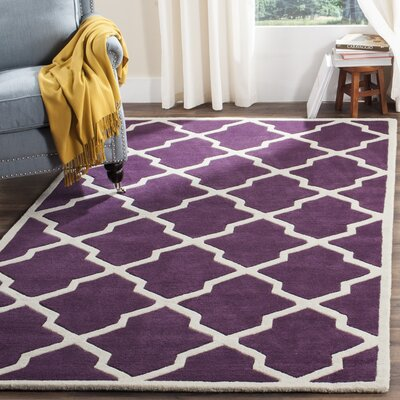 Wilkin Hand-Tufted Purple/Ivory Area Rug Rug Size: Rectangle 8 x 10