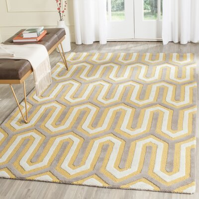 Martins Hand-Tufted Gold/Gray Area Rug Rug Size: Square 6
