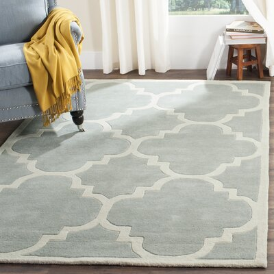 Wilkin Hand-Tufted Wool Gray/Ivory Area Rug Rug Size: Rectangle 5 x 8