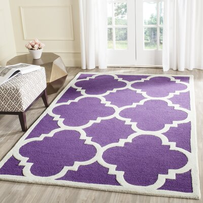 Charlenne Wool Purple/Ivory Area Rug Rug Size: Rectangle 26 x 4