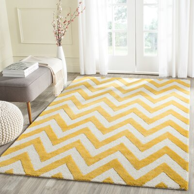 Harbin Hand-tufted Gold/Ivory Area Rug Rug Size: Rectangle 5 x 8