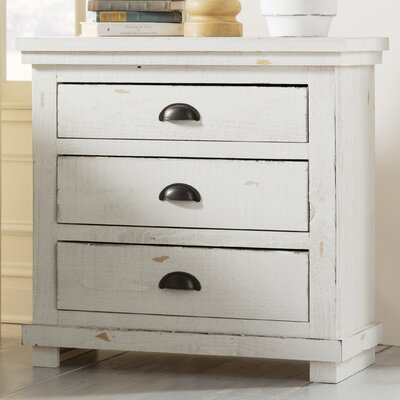 Castagnier 3 Drawer Night Stand Finish: Distressed White