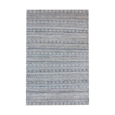 Firenze Hand-Woven Wool Ivory/Blue Area Rug Rug Size: Square 6