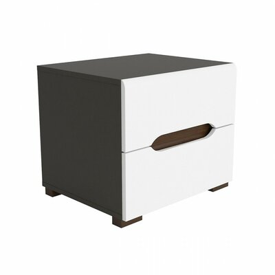Elpasso 2 Drawer Nightstand Color: Gray / White