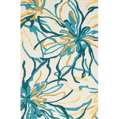 Vandergrift Cream/Light Turquoise Indoor/Outdoor Area Rug Rug Size: Rectangle 5 x 76