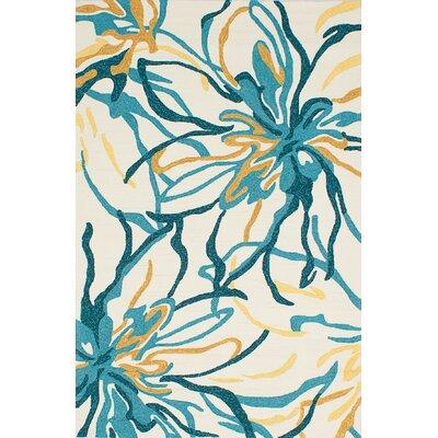 Vandergrift Cream/Light Turquoise Indoor/Outdoor Area Rug Rug Size: Rectangle 76 x 96