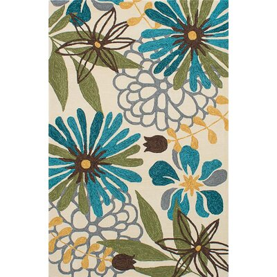 Villenova Cream/Light Blue Indoor/Outdoor Area Rug Rug Size: 76 x 96