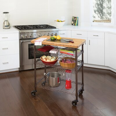 Ondina Bamboo Top Chefs Table Kitchen Cart Wood
