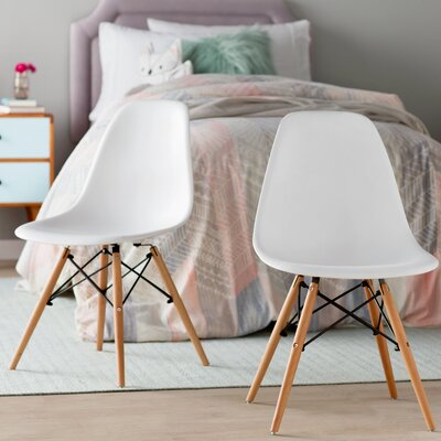 Brook Modern Solid Wood Dining Chair (Set of 2) Color: White Natural