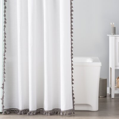 Suffield 100% Cotton Tassel Shower Curtain Color: Gray