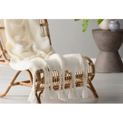 Europa Throw Blanket Color: Cream