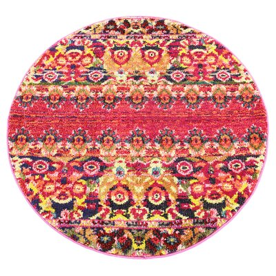 Rialto Red Area Rug Rug Size: Round 33