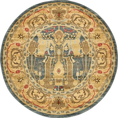 Lerma Gray/Brown Area Rug Rug Size: Round 6