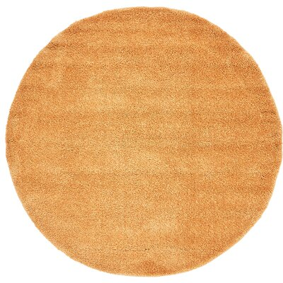 Truett Orange Area Rug Rug Size: Round 6