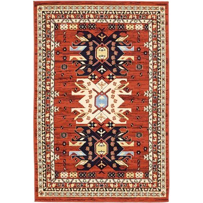 Zoey Red Area Rug Rug Size: Rectangle 4 x 6
