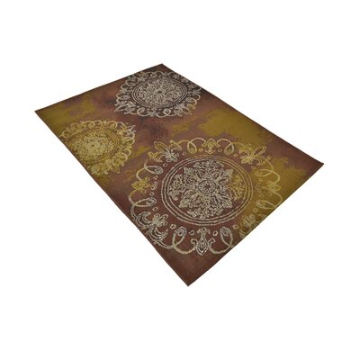 Victoria Yellow/Brown Indoor/Outdoor Area Rug Rug Size: Rectangle 4 x 6