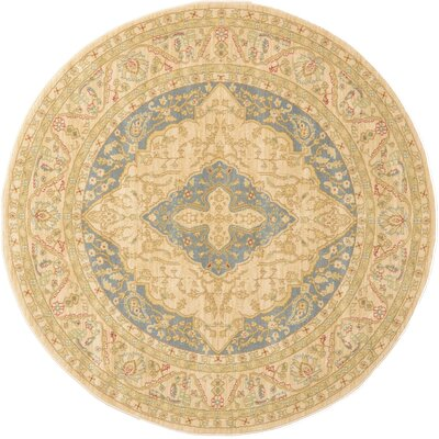 Willow Cream Area Rug Rug Size: Round 6