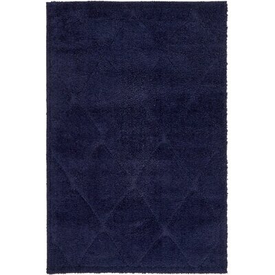 Chester Navy Blue Shag Area Rug Rug Size: Rectangle 4 x 6