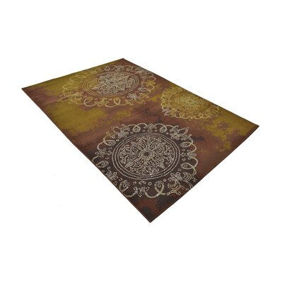 Victoria Yellow/Brown Indoor/Outdoor Area Rug Rug Size: Rectangle 53 x 8