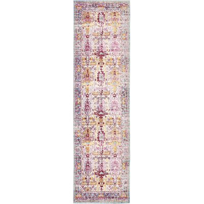 Center Burgundy Area Rug Rug Size: Runner 27 x 910