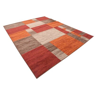 Bryan Burgundy/Orange Area Rug Rug Size: Rectangle 8 x 10