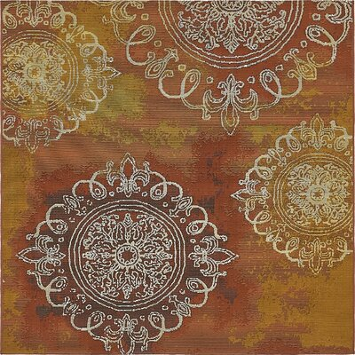 Victoria Yellow/Brown Indoor/Outdoor Area Rug Rug Size: Square 6