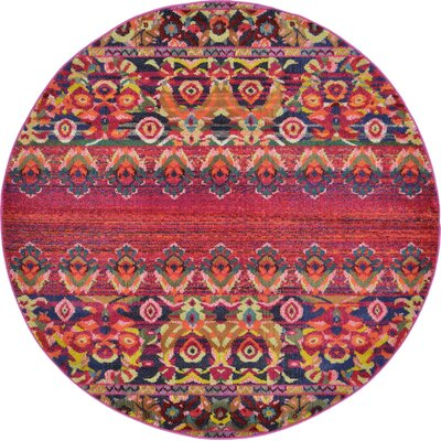 Rialto Red Area Rug Rug Size: Round 6
