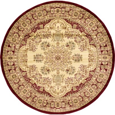 Anzac Cream Area Rug Rug Size: Round 8