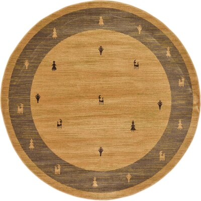 Jan Traditional Tan Area Rug Rug Size: Round 6'