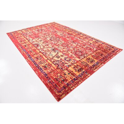 Figueroa Gold/Red Area Rug Rug Size: 7 x 10