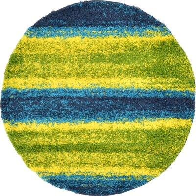 Suzanne Blue/Yellow Area Rug Rug Size: Round 6