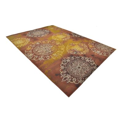 Victoria Yellow/Brown Indoor/Outdoor Area Rug Rug Size: Rectangle 8 x 114