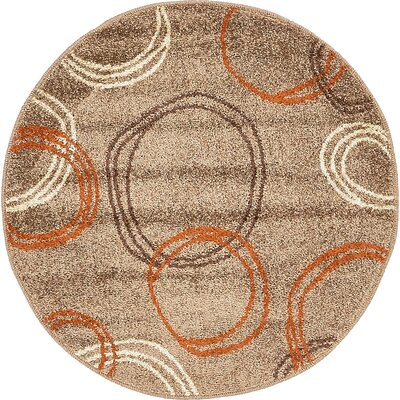 Bryan Light Brown Area Rug Rug Size: Round 33