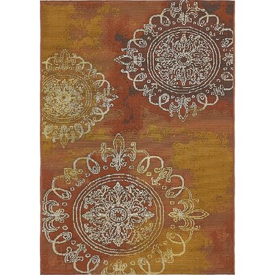 Victoria Yellow/Brown Indoor/Outdoor Area Rug Rug Size: 4 x 6