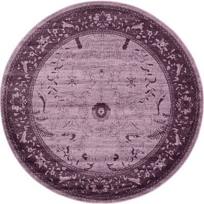 Imperial Purple Area Rug Rug Size: Round 8